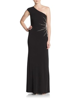 David Meister Embellished One-Shoulder Dress