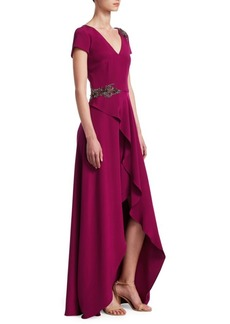 David Meister Embellished Ruffle Slit Gown
