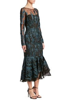 David Meister Embroidered Fishtail Dress