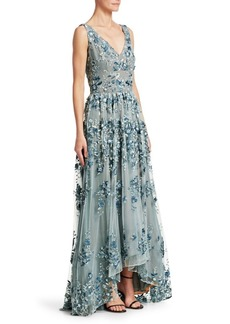 David Meister Embroidered Floral V-Neck Gown