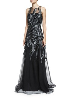 David Meister Embroidered Illusion Sleeveless Gown