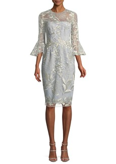 David Meister Embroidered Trumpet-Sleeve Cocktail Dress