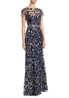 David Meister Floral Appliqué A-Line Gown