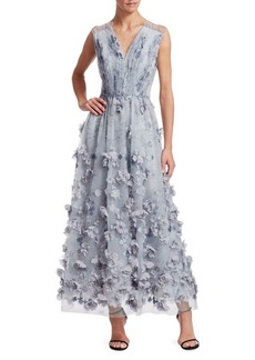 David Meister Floral Appliqué Mesh Dress
