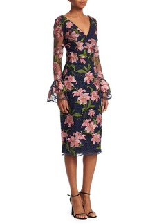 David Meister Floral Embroidered Bell-Sleeve Sheath Dress