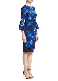 David Meister Floral Bell-Sleeve Sheath Dress