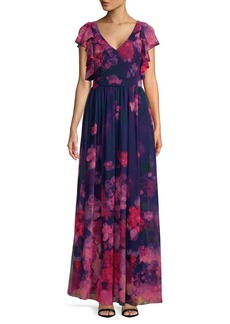 David Meister Floral Chiffon Gown