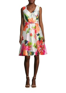 David Meister Floral Dance Sleeveless Dress