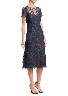 David Meister Floral-Embroidered A-Line Dress