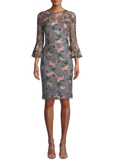 David Meister Floral-Embroidered Lace Trumpet-Sleeve Sheath Cocktail Dress