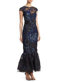 David Meister Floral-Embroidered Mermaid Gown