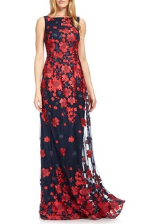 David Meister Floral Embroidered Sleeveless Gown