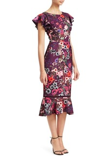 David Meister Floral Flounce Sheath Dress