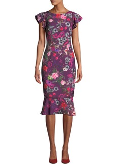 David Meister Floral Flutter-Sleeve Flounce Dress