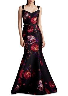 David Meister Floral Mikado Mermaid Gown