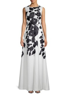 David Meister Floral Print Gown