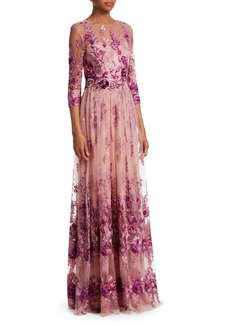 David Meister Floral Quarter-Sleeve Gown