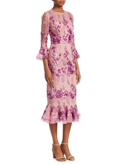 David Meister Floral Ruffle-Sleeve Dress