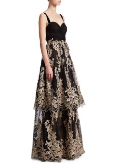 David Meister Floral Tiered Gown