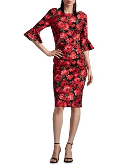 David Meister Flutter-Cuff  Floral Sheath Dress