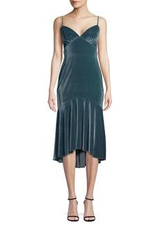 Theia High-Low Velvet Slip Dress