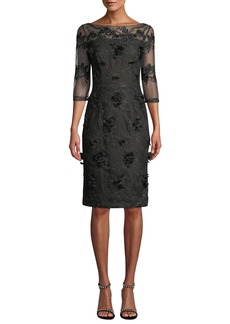 David Meister Illusion Cocktail Dress w/ 3D Embroidery
