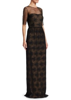 David Meister Illusion Neckline Column Gown