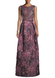 David Meister Jacquard Gown w/ Beaded Bodice