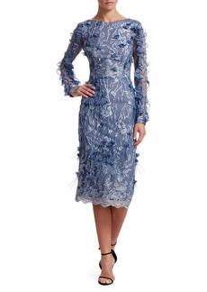 David Meister Lace & Appliqué Mesh Dress