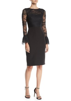 David Meister Lace Bell-Sleeve Cocktail Dress