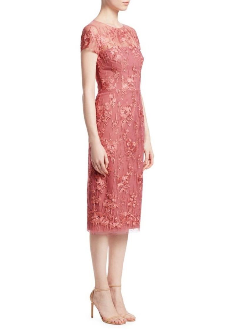 David Meister Lace Illusion Sheath Dress