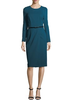 David Meister Long-Sleeve Belted Ponte Cocktail Dress