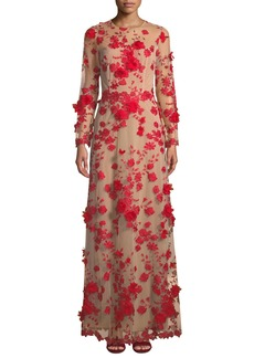 David Meister Long-Sleeve Floral Embroidered Tulle Gown