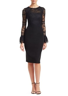 David Meister Long-Sleeve Lace Sheath Dress