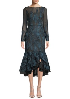 David Meister Long-Sleeve Metallic Embroidered Ruffle-Hem Dress