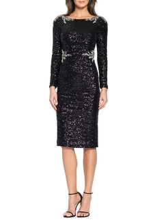 David Meister Long-Sleeve Sequined Midi Cocktail Dress