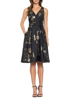 David Meister Metallic Floral Jacquard Cocktail Dress