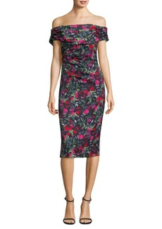 David Meister Off-the-Shoulder Floral Dress