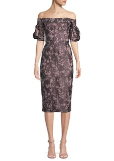 David Meister Off-the-Shoulder Jacquard & Organza Dress