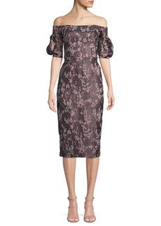 David Meister Off-the-Shoulder Jacquard & Organza Dress