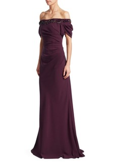 David Meister Off-The-Shoulder Ruched Gown