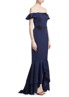 David Meister Off-The-Shoulder Ruffled Mermaid Gown