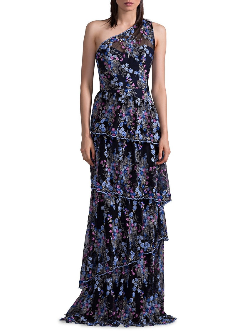 6de11713bf2 David Meister One-Shoulder Floral-Embroidered Tiered Evening Gown