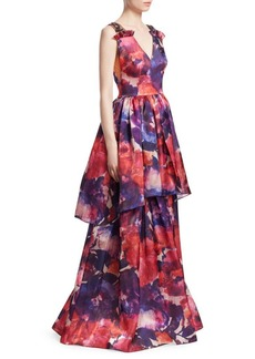 David Meister Printed Layered Gown