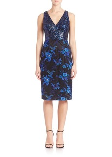 David Meister Printed Sheath Cocktail Dress