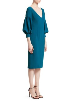 David Meister Puff-Sleeve Midi Dress