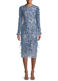 David Meister Ruffle-Sleeve Dress w/ Feather Details