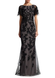 David Meister Sequin Tulle Mermaid Gown