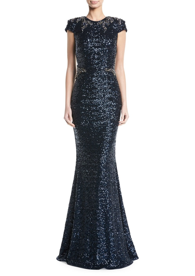 David Meister Sequined Cap-Sleeve Appliqué Waist Evening Gown