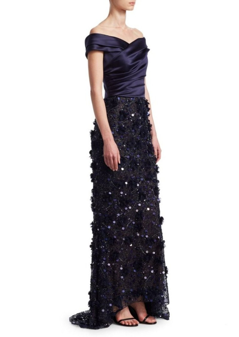 David Meister Sequined Off-The-Shoulder Gown